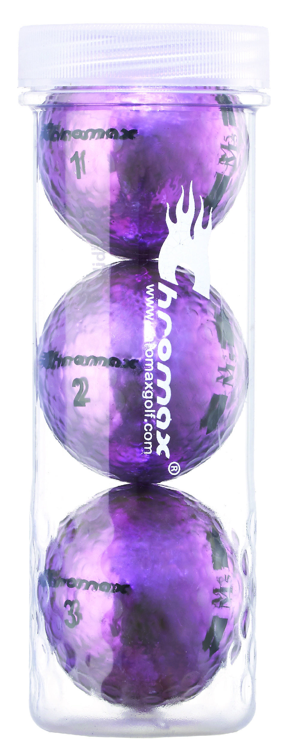 Chromax® Colored Purple Golf Balls - Metallic M5 3 Ball Tube CM53PUR
