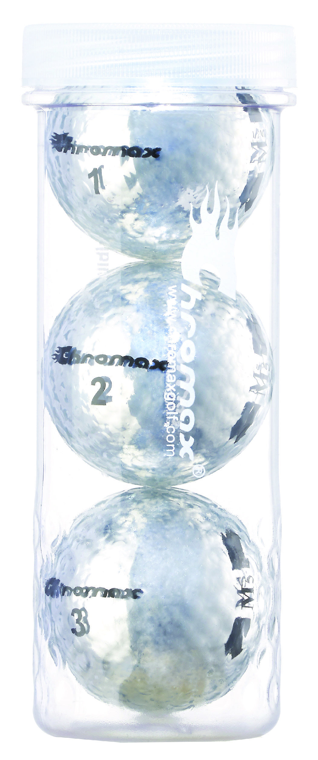 Chromax® Colored Silver Golf Balls - Metallic M5 3 Ball Tube CM53SIL