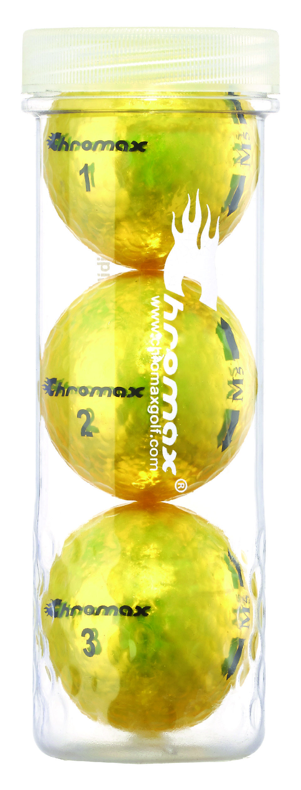 Chromax® Colored Yellow Golf Balls - Metallic M5 3 Ball Tube CM53YEL