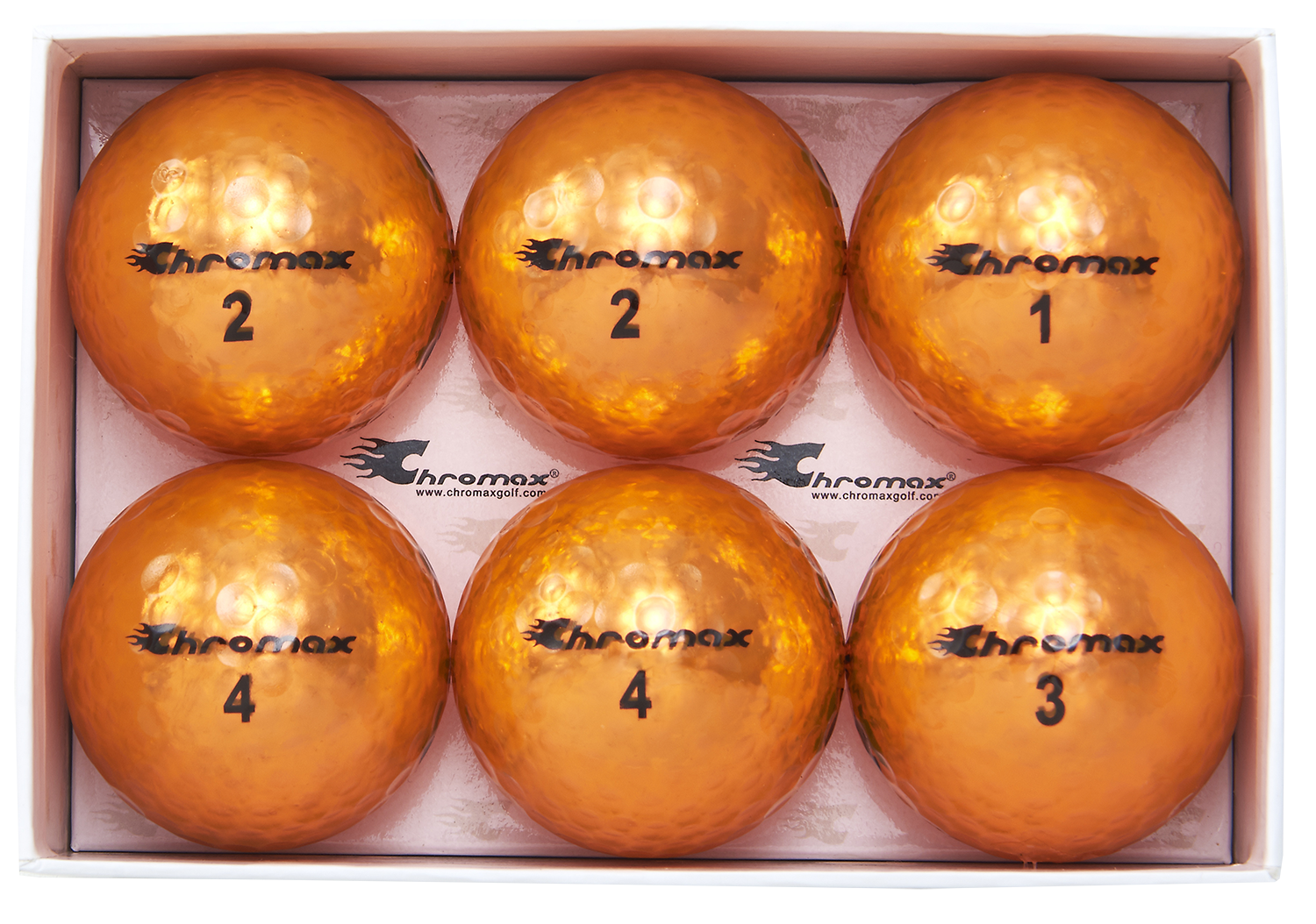 Chromax orange golf ball M5 6-pack open