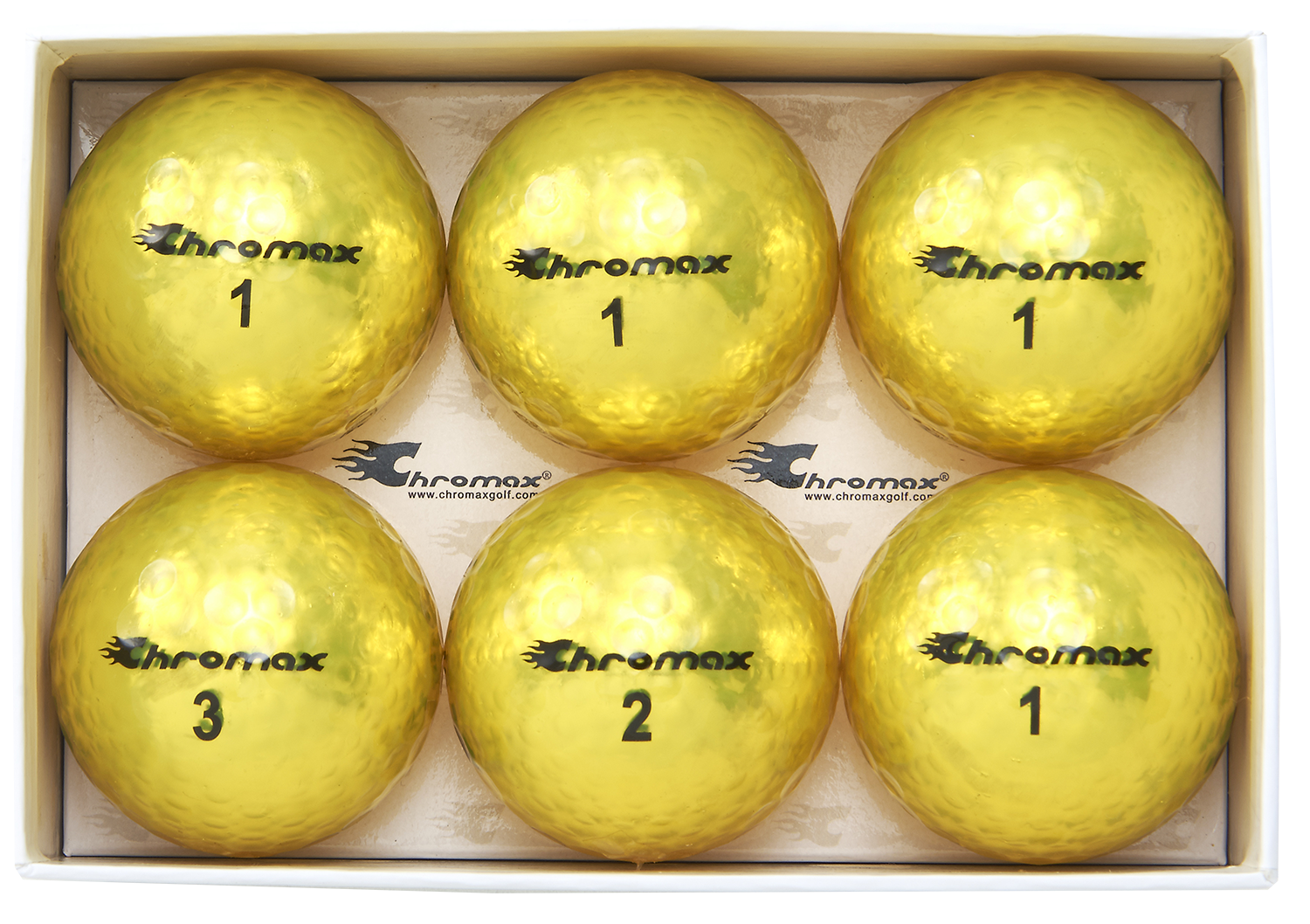 Chromax yellow golf ball M5 6 pack open