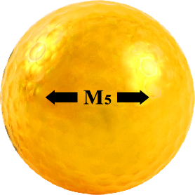 M5 Gold golf ball with sightline