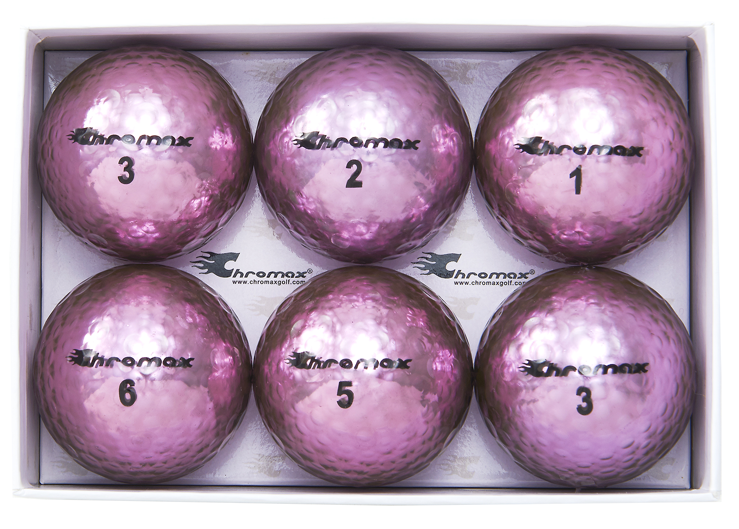 Chromax purple golf ball M5 6-pack open