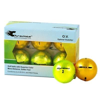 Green neon & Gold Golf Balls- Chromax O.V. Half Dozen COV756MIX
