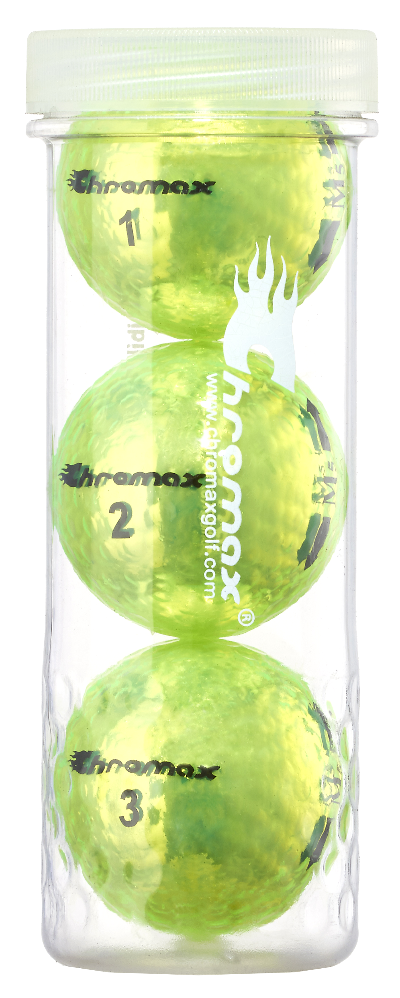 Chromax® Colored Green Neon Golf Balls - Metallic M5 3 Ball Tube CM53GRN