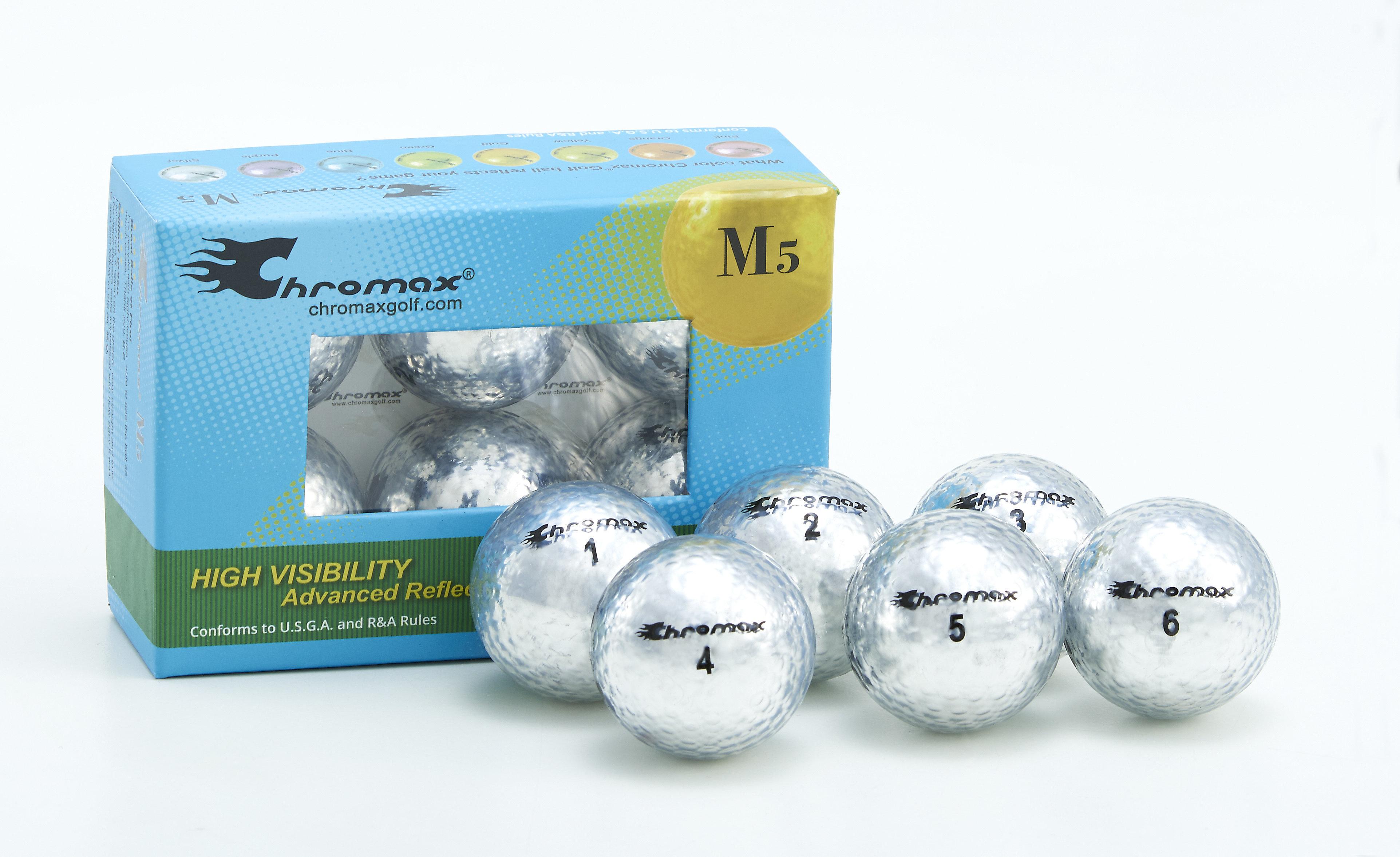 Chromax® Colored Silver Golf Balls - Metallic M5 6 Ball Pack CM56SIL