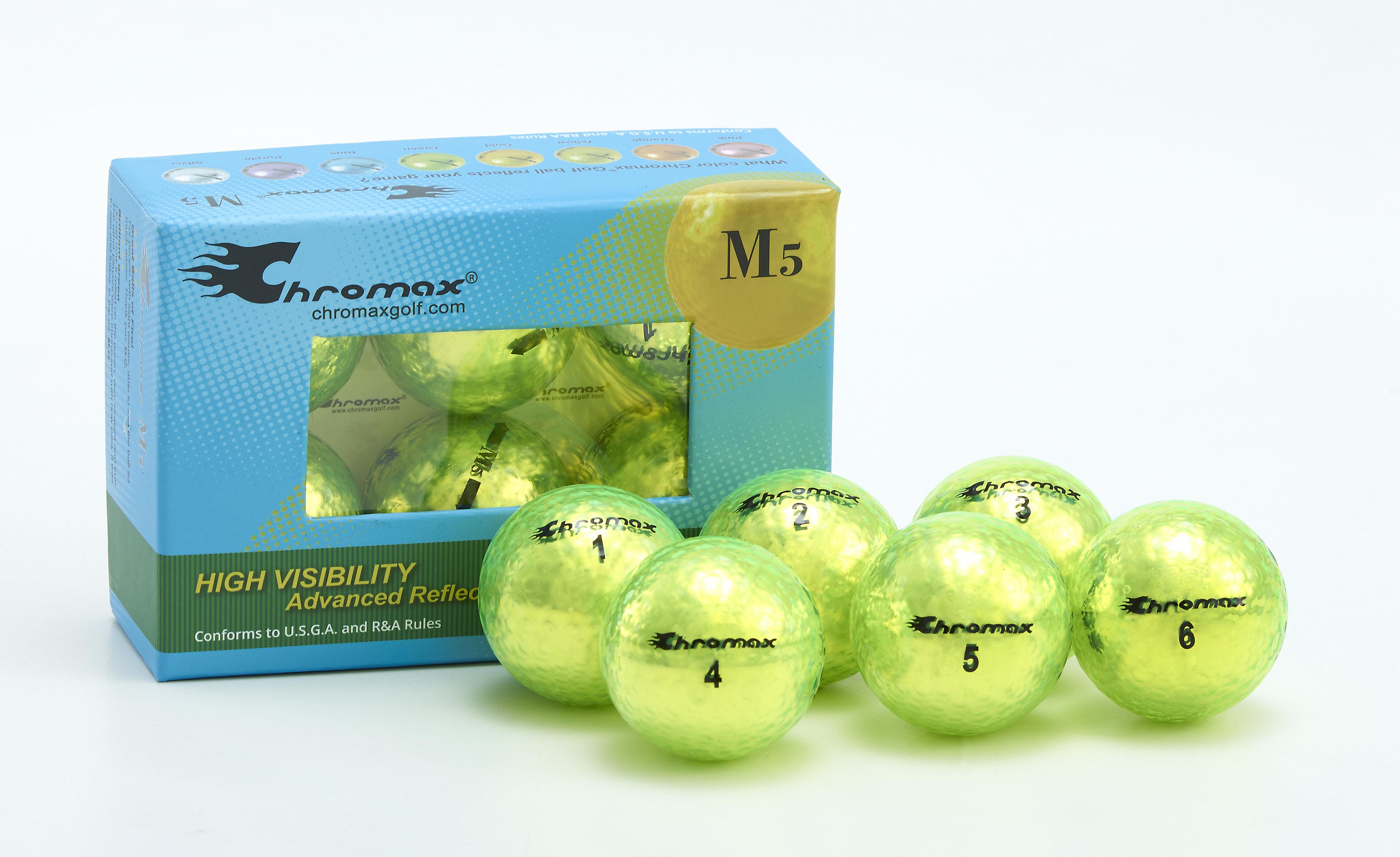 Chromax® Colored Green Neon Golf Balls - Metallic M5 6 Ball Pack CM56GRN