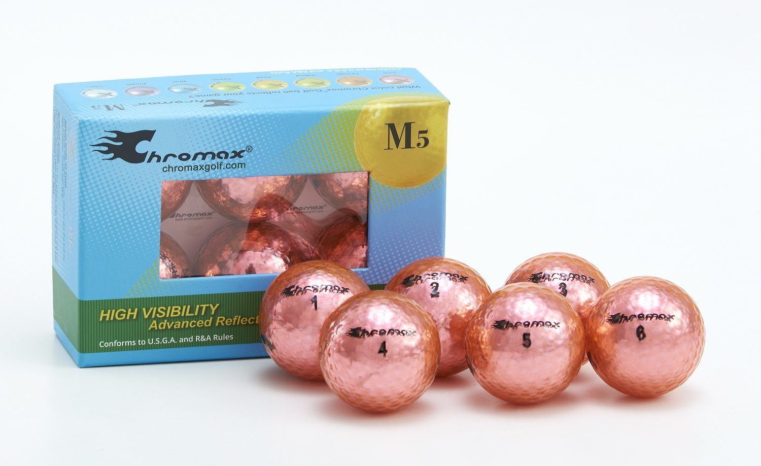 Chromax® Colored Pink Golf Balls - Metallic M5 6 Ball Pack