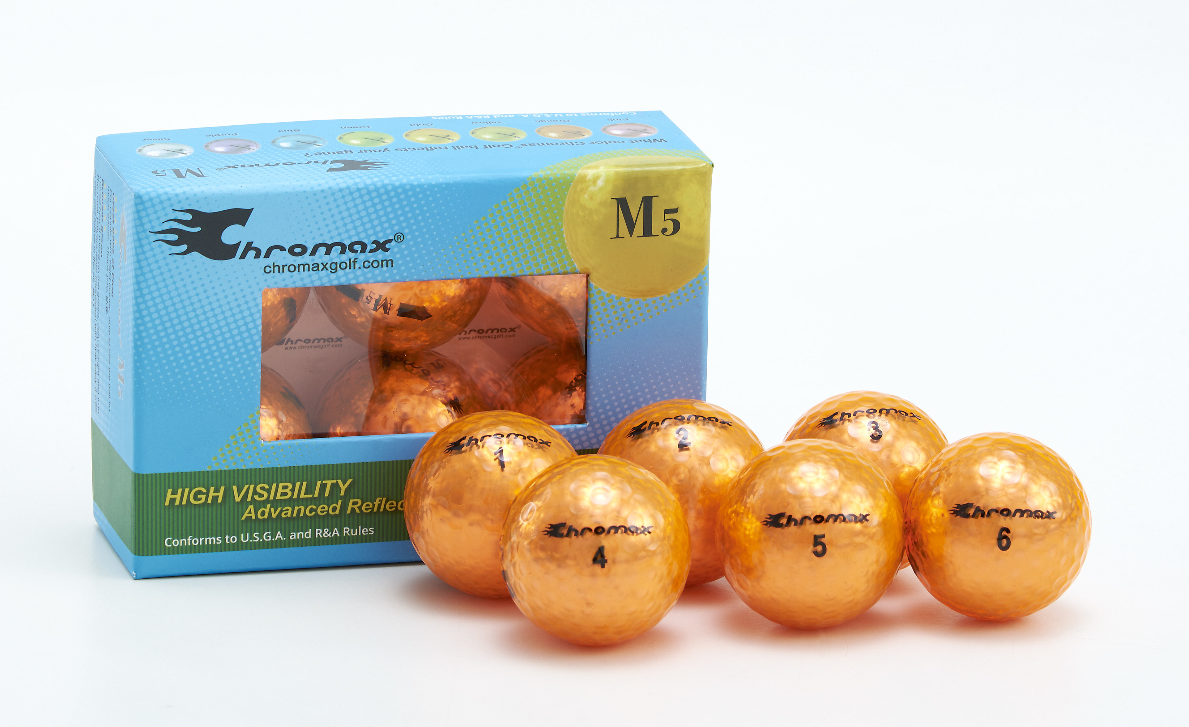 Chromax® Colored Orange Golf Balls - Metallic M5 6 Ball Pack CM56ORG