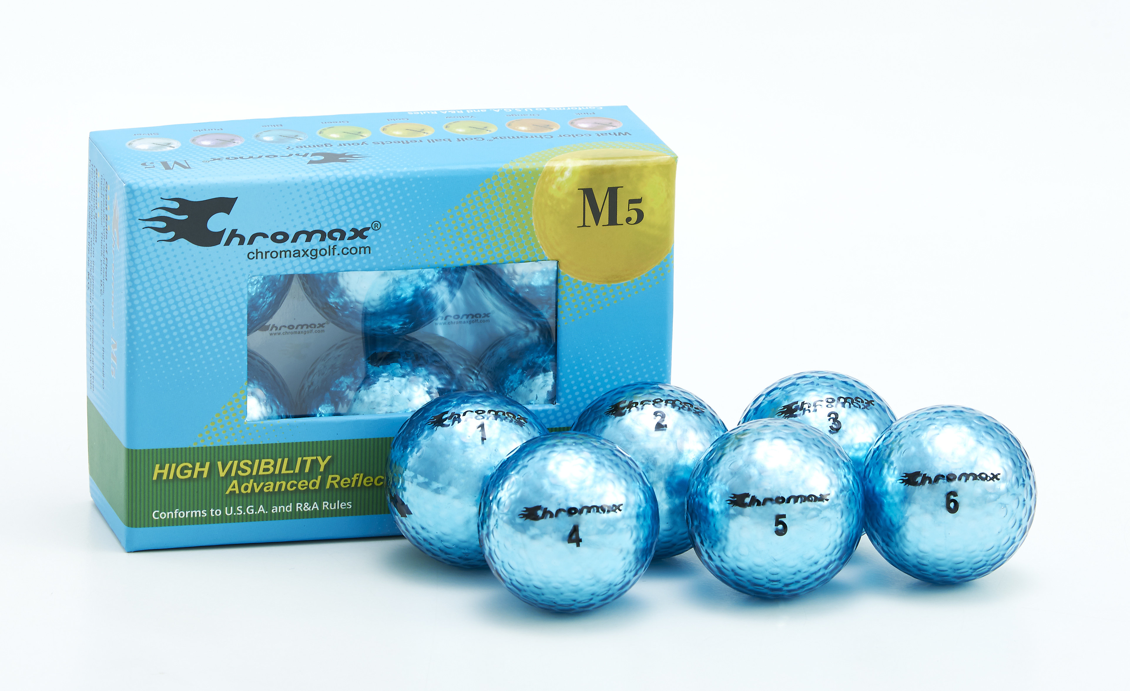 Chromax® Colored Blue Golf Balls - Metallic M5 6 Ball Pack CM56BLU