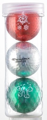 Holiday Golf Balls - Chromax M1x 3 Ball Tube - (Red, Silver, Green)