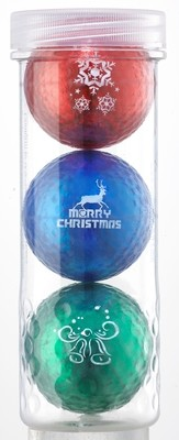Holiday Golf Balls - Chromax M1x 3 Ball Tube (Red, Blue, Green)