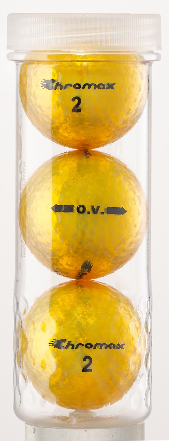 Gold Golf Balls- Chromax O.V. 3 Ball Tube