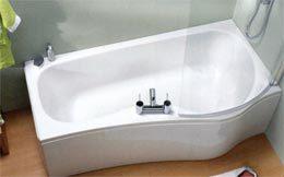 SANINOVA P SHAPED SHOWER BATH WITH FRONT PANEL 1500 X 880