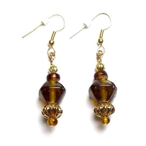 Earrings: Gold & Brown