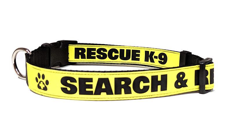 Safety Dog Collar (Reflective): SEARCH & RESCUE K-9