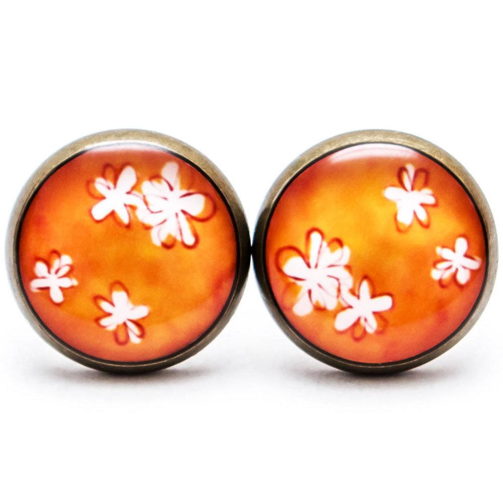 Jemné kvetinky - oranžové 00261