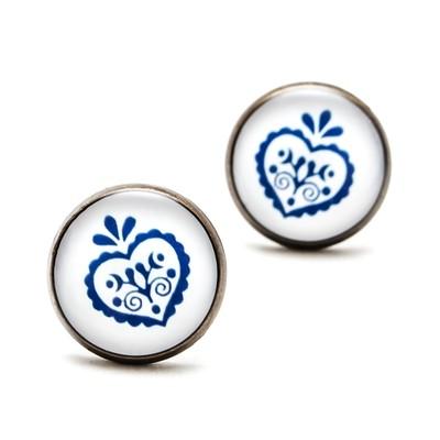 Séria Folk minimal - Srdiečko ornament modrý