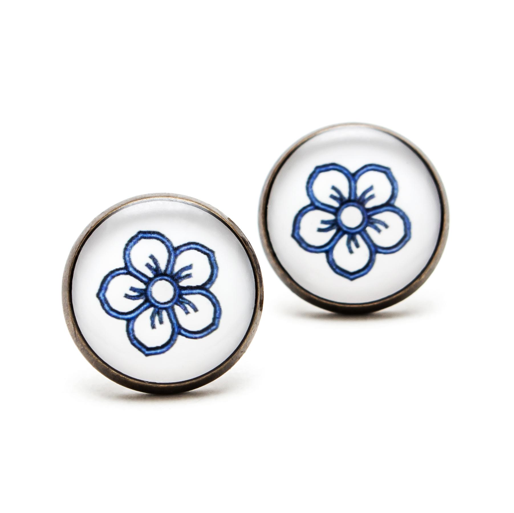 Séria Folk minimal - Kvetinka ornament modrý 00449