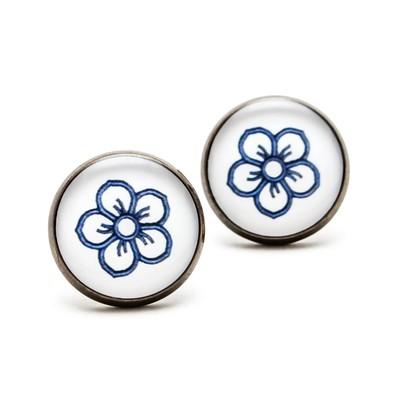 Séria Folk minimal - Kvetinka ornament modrý