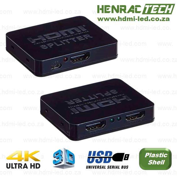 1x2 HDMI SPLITTER, Ultra HD (4K), USB powered, supports 3D