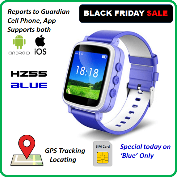 HZ55 - Kids GPS Tracking Phone Watch, SOS, Geofence, Voice and Chat, Blue