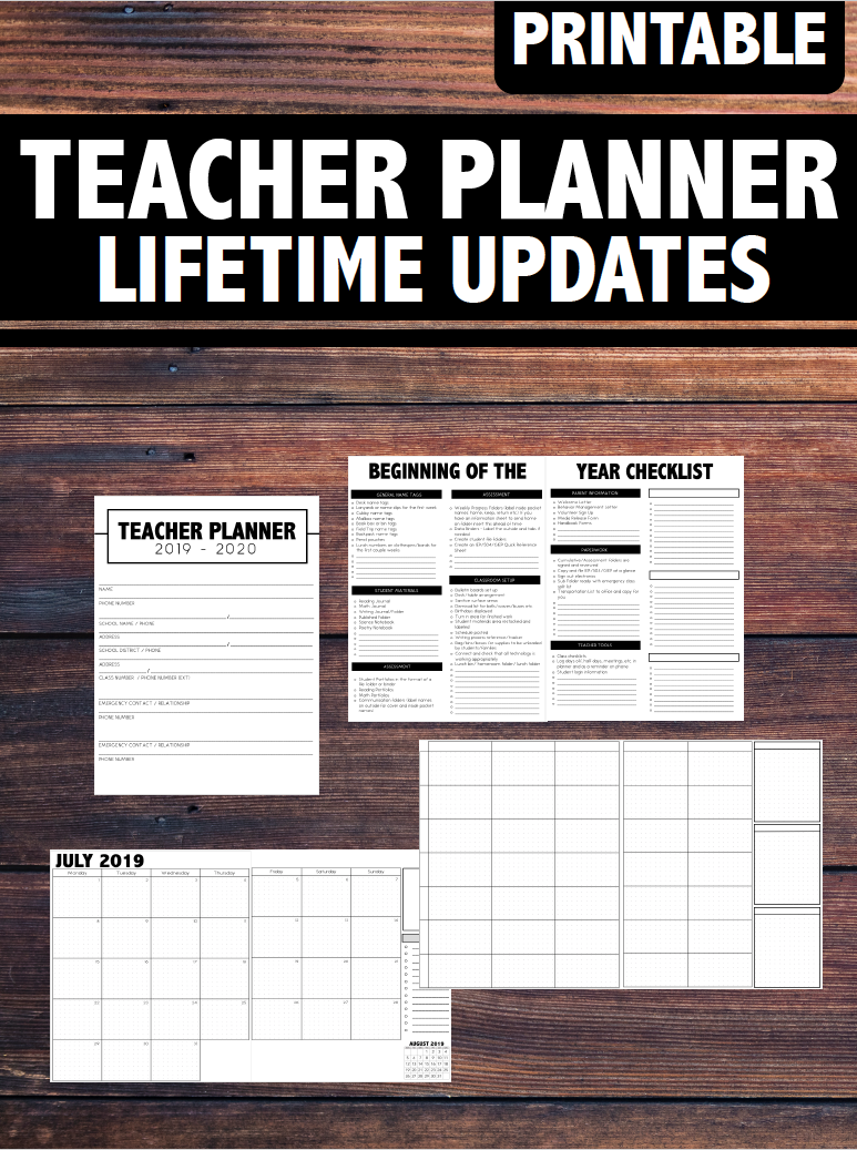 graphic relating to Printable Teacher Planner identify Printable/Editable 2019-2020 Instructor Planner