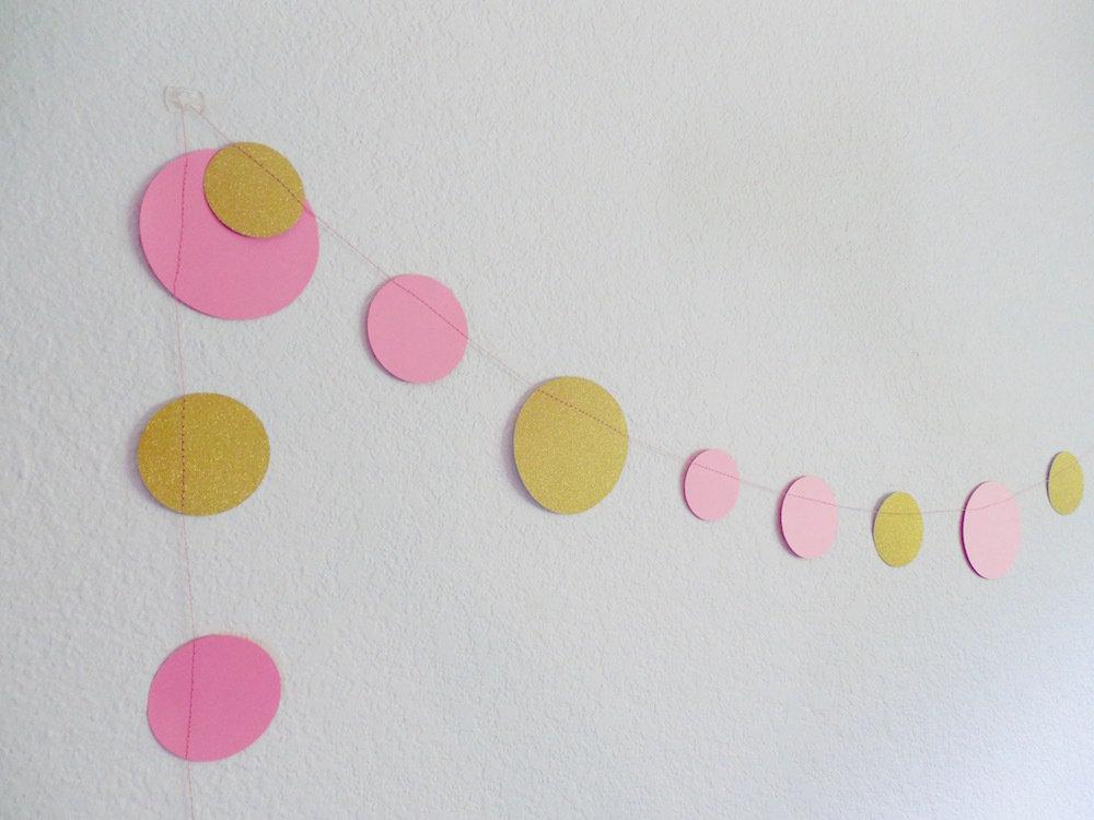 Pink & Gold Dot Garland