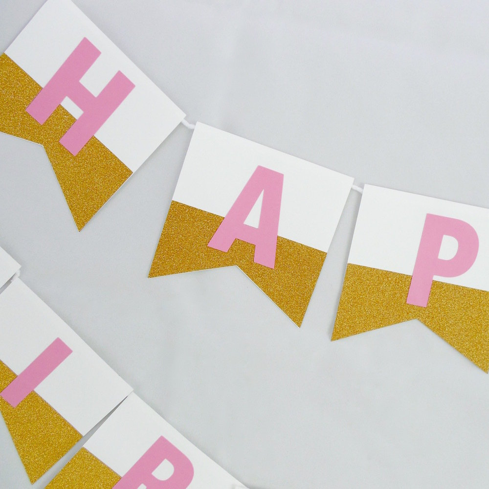Pink & Gold Dipped Banner 22022