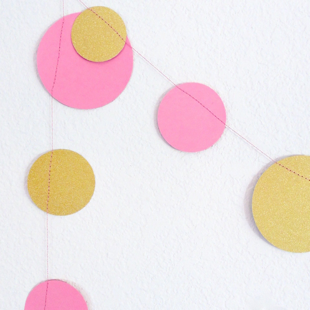 Pink & Gold Dot Garland 22030