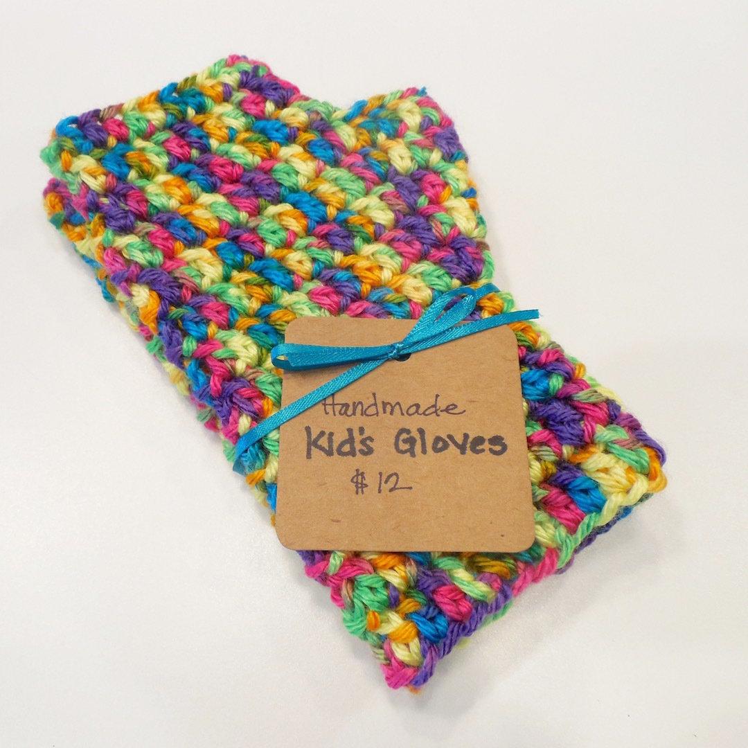 Kids Fingerless Gloves, Bold Multi Color 000502
