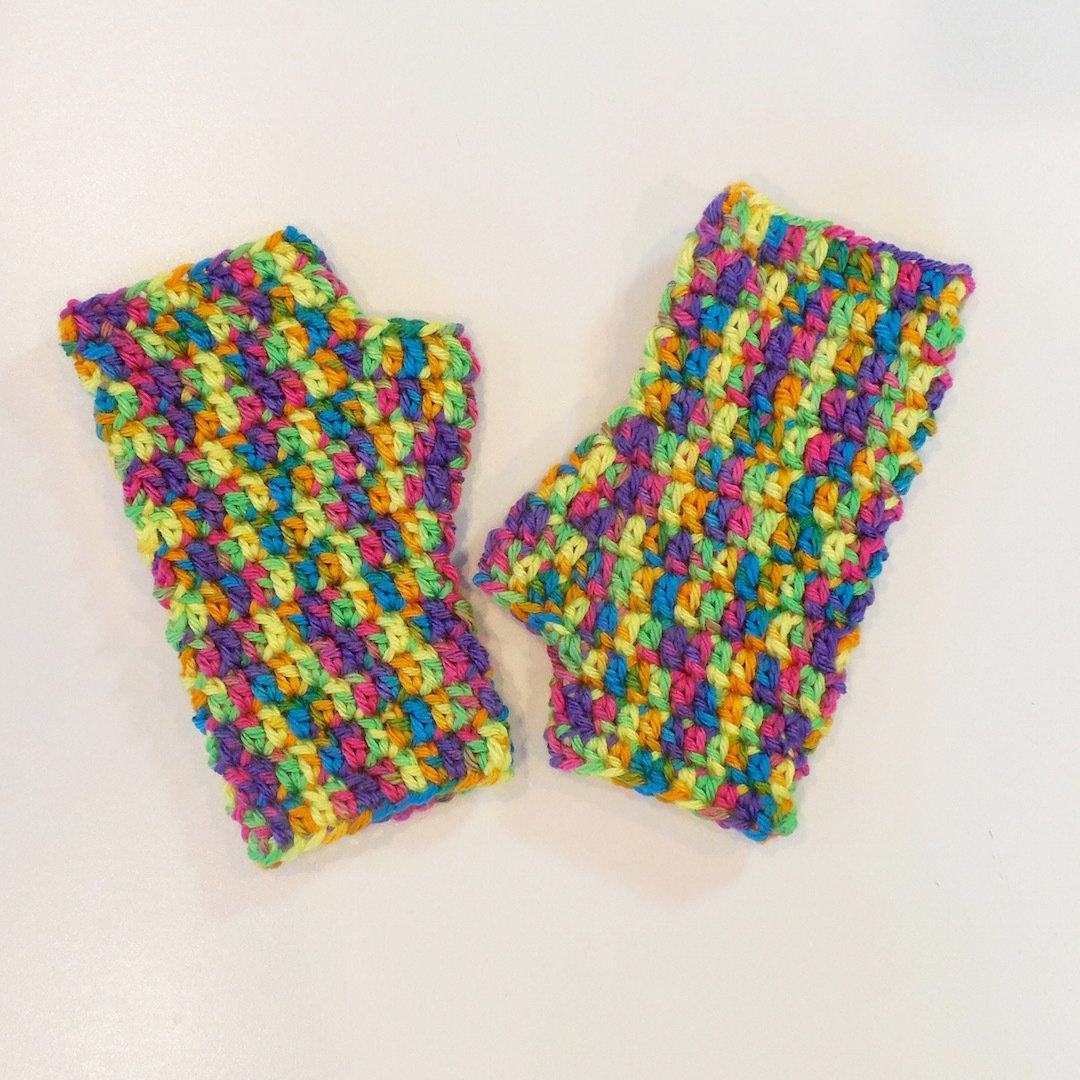 Kids Fingerless Gloves, Bold Multi Color