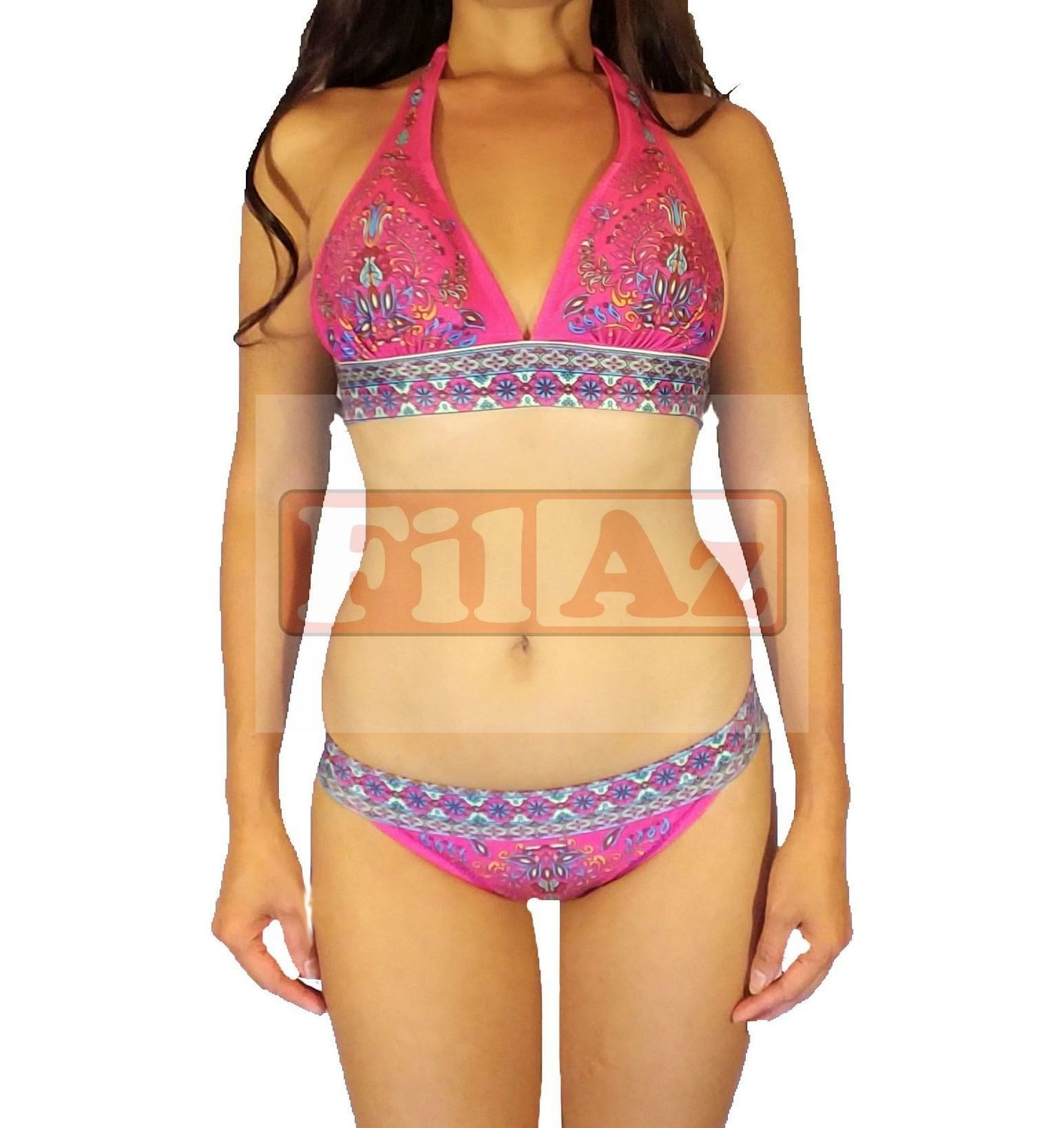 womens pink and purple floral two piece halterneck bikini swimsuit