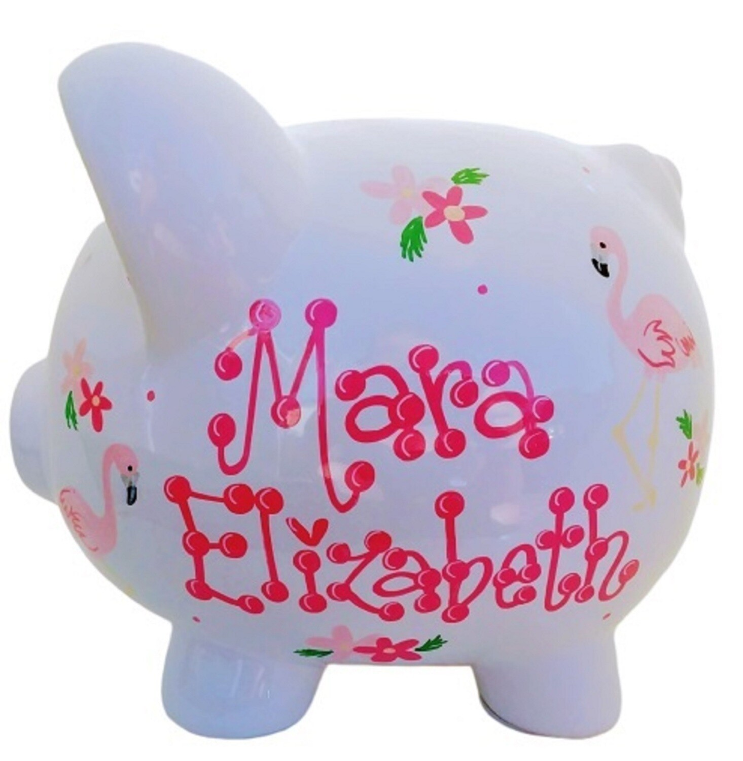 Personalized Piggy Bank with Flamingo Design