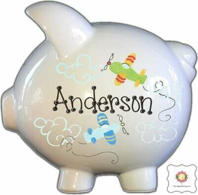 Personalized Piggy Bank with Airplanes