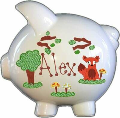 Orange Fox Piggy Bank