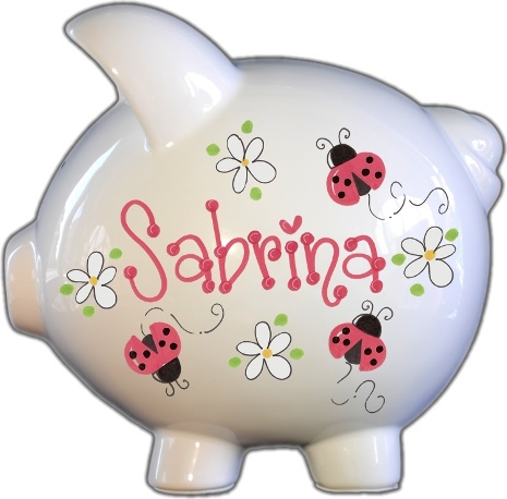 Ladybug Red and Daisies Design Piggy Bank