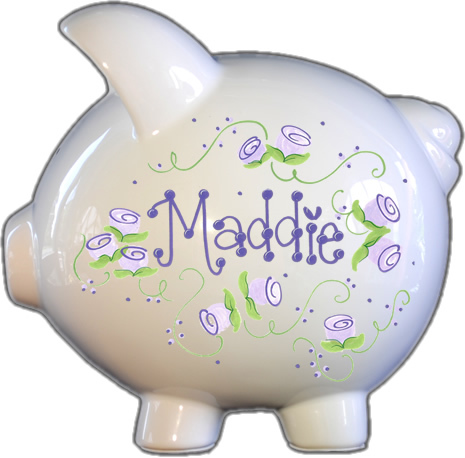 Lavender Roses Design Piggy Bank