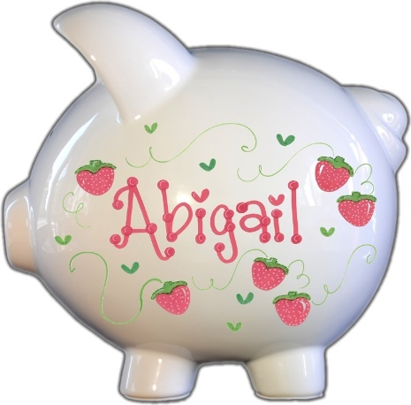 Strawberry Patch Design Piggy Bank