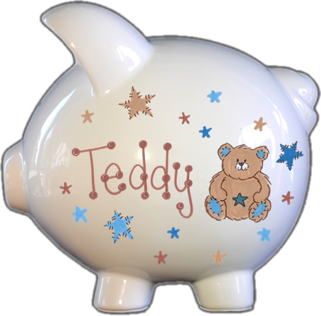 Teddy Bear & Stars Design Piggy Bank