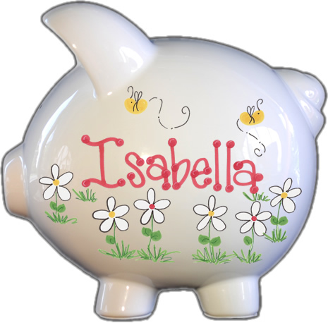 Bumble Bee's and Daisies Design Piggy Bank