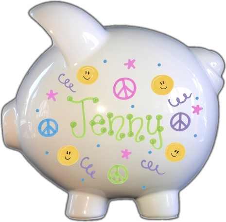 Hippy Chick Design Piggy Bank
