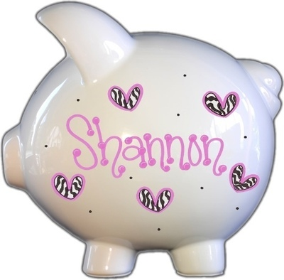 Zebra Hearts Design Piggy Bank