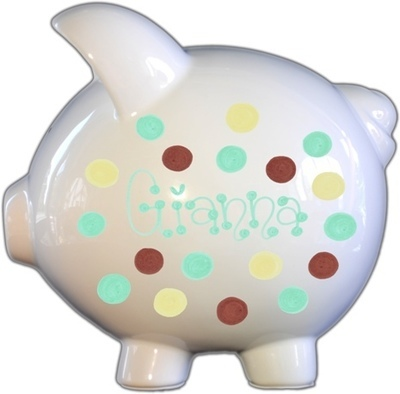 Turquoise,Brown,&Yellow Dots Design Piggy Bank