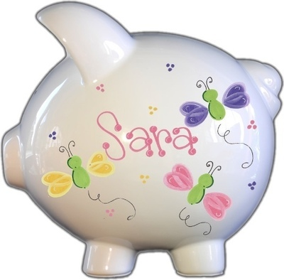 Pretty Butterflies Design Piggy Bank