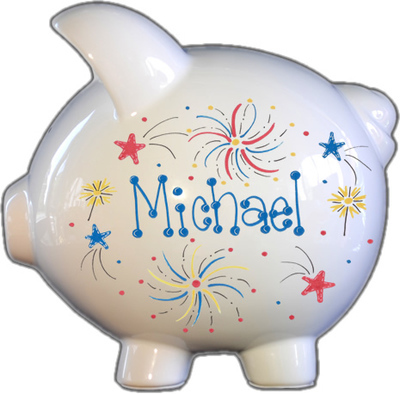 Fireworks Design Piggy Bank