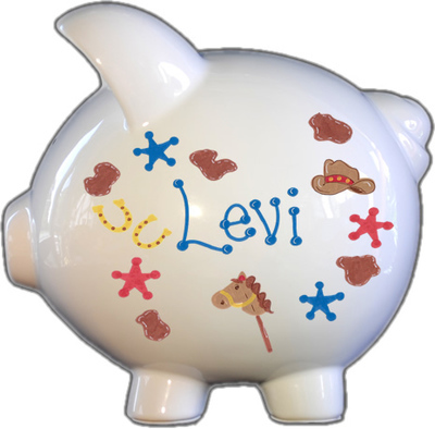 Cowboy Design Piggy Bank