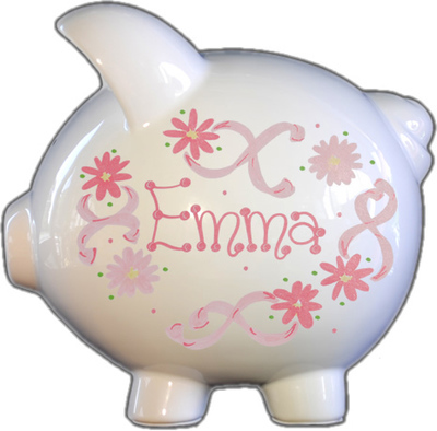 Pink Flowers & Ribbons Design Piggy Bank
