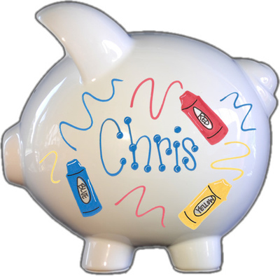 Crayons Design Piggy Bank