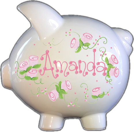 Pink Roses Design Piggy Bank